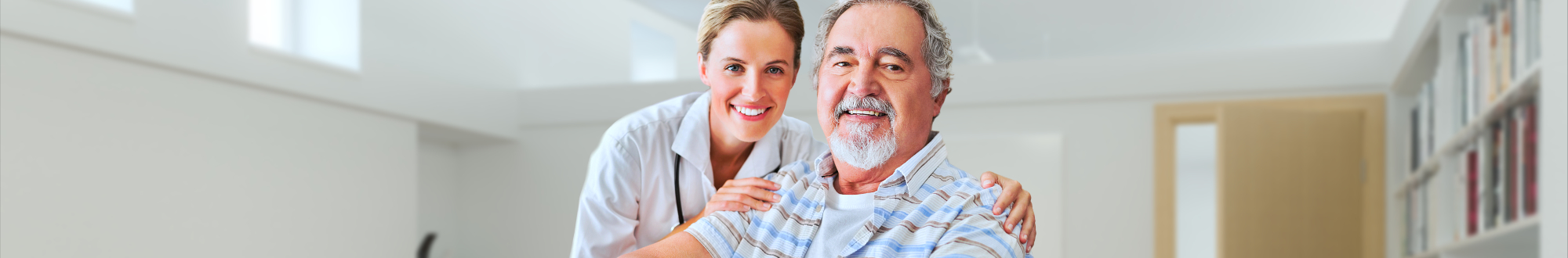 portrait of senior man and nurse